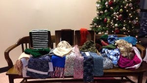 Here are all the hats, scarves and mittens delivered to Veteran's Haven North by the Hunterdon County Library.