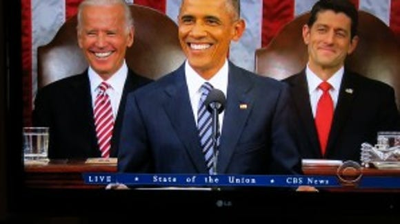 Shot of my TV monitor during Obama's 2016 State of the Union address.