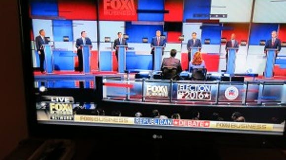 Picture of my TV during the January 14, 2016 Republican Primary Debate hosted by Fox News.