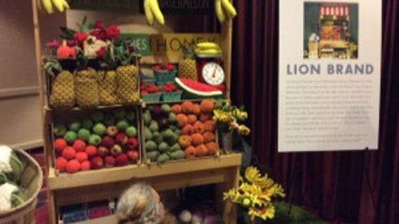 This is an inventive way that Lion Brand is using to display yarn as part of the yarn exhibition at Vogue Knitting Live.
