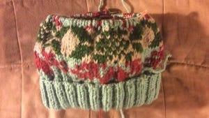 Here's another Fair Isle hat that I'm doing to use up leftovers.