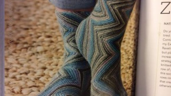 Many of the socks in this book are knitted in ways you have never seen before, like these Zick-Zacks.