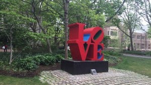 LOVE Statue, University of Pennsylvania (photo by Jane Havsy/Daily Record)