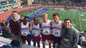Morristown's 4x400: senior Abdoulaye Sangare and juniors Graydon Rogers, Eric Clay and Joel Stennett (Photo by Morristown coach Paul Buccino)