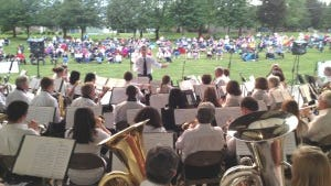 The CVSM Band in a prior concert at Chambersburg Memorial Park Band Shell.