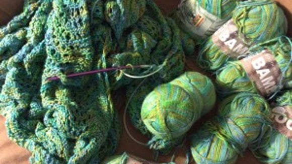 """I love this bamboo yarn, but I no longer love the project I was using it for. I probably have enough to make a couple of things from """"Knits that Breathe."""""""
