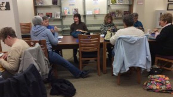 This is the grouip I knit with at the Hunterdon County Library on the second Monday of the month. Some of them are members of the Hunterdon Knitters and Crocheters Guild, which will hold a Knitting in Public Day event on June 18 at the library.