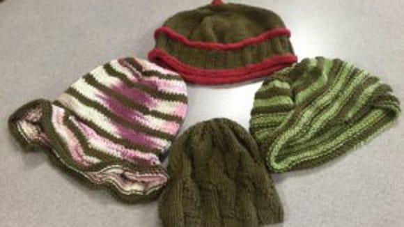 These are four of the hats I made for the Stitch 'n Pitch samples.
