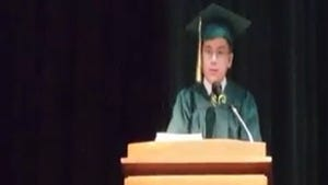 William Maillis, 9, speaks at his high school graduation in May. An official genius by the age of 5, William is now one of the youngest college students ever.