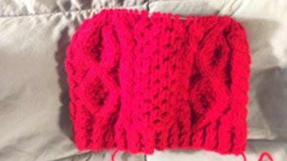 The red Aran hat is getting close to the end, too.