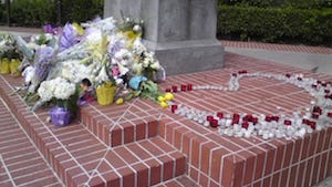 Flowers on the campus at USC, left to remember to slain students.