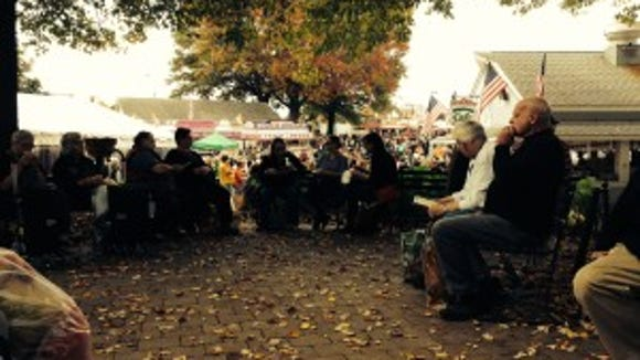 It was fun to sit under the autumn trees with other knitters and work on our current projects.