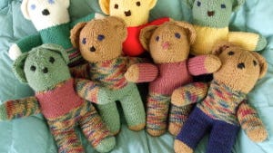 "I made these bears in 2011 for Grace Heathcare with Susan Dennis's original ""Yet another teddy bear"" pattern, which is free."
