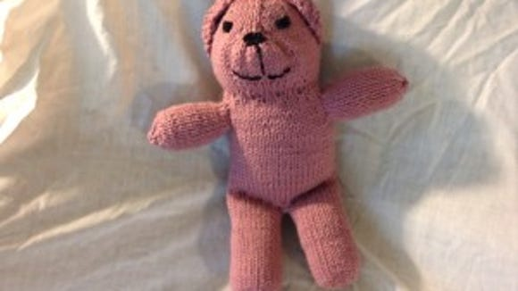 This little girl bear is one I made fo Grace Healthcare Services in 2013 using Susan Dennis's pattern. .