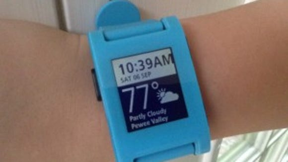 The Pebble has apps that give it fitness tracker functions.