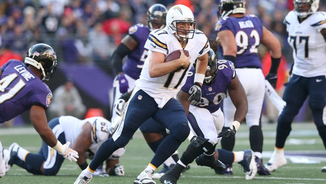 San Diego Chargers quarterback Philip Rivers scrambles against the Baltimore Ravens at M&T Bank Stadium.