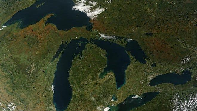 Satellite image of Michigan.