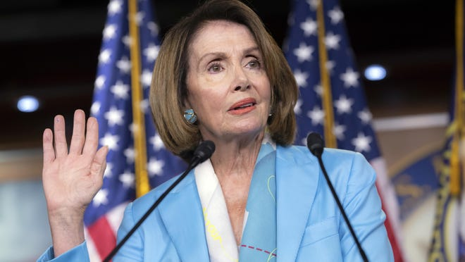 House Minority Leader Nancy Pelosi, D-Calif., speaks about the Trump administration immigration policy of family separations on Capitol Hill in Washington.