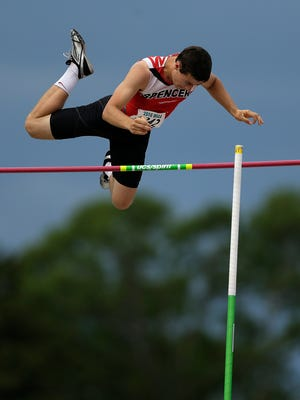 Spencer's Noah Zastrow clears the bar while competing in the Div. 3 pole vault during the WIAA state track and field meet at Veterans Memorial Field Sports Complex in La Crosse, Wis., on Friday, June 3, 2016.