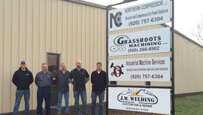 The owners of J.W. Welding, Grassroots Machining, Industrial Machine Services and Northern Compressor share space in the Town of Menasha. From left are Jason Harold, Chuck Duginski, Gregg Jansen, Nick VanderHeyden and Cody Wagner.