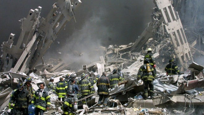 Firefighters at the World Trade Center on Sept. 11, 2001.