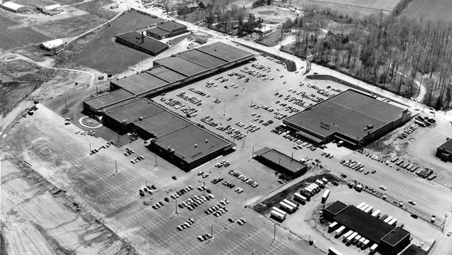 This photo, courtesy of Gene Schenck, shows the York County Shopping Center in 1955, center, which served families that spilled out from the city to the suburbs of Springettsbury Township and beyond. The Haines Acres neighborhood grew up in the fields, upper right, and beyond.