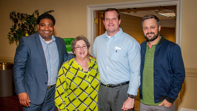 From left, Rick Jackson of the Boys & Girls Clubs of the River Region, Montgomery Rotary Club president Clare Weil, and Bryan Kelly of Common Ground Montgomery, were joined by comedian Nate Bargatze before the Rotary Club's FunnyRaiser (Contributed)