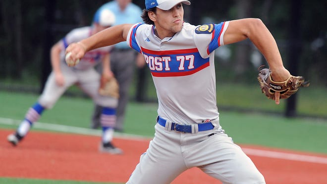 Ashland Legion Post 77 starting pitcher Dom Cavanagh hurls a pitch during a Zone 5 playoff game against Lowell last summer in Hopkinton. Cavanagh will soon get a chance to play baseball this summer in the Massachusetts Independent Baseball League.