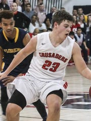 Bound Brook's Kyle Frauenheim dribbles against Florence's defense.