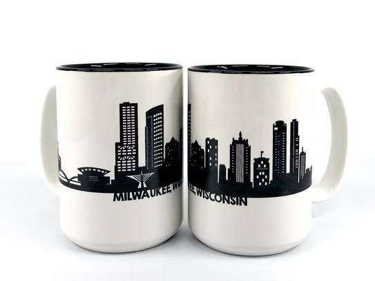 Paper Pleasers uses the Milwaukee skyline on mugs,
