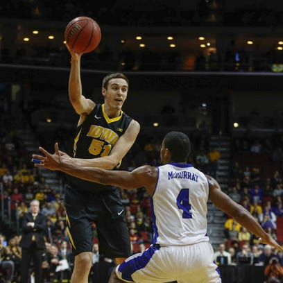 Iowa junior Nicholas Baer had a double-double in the