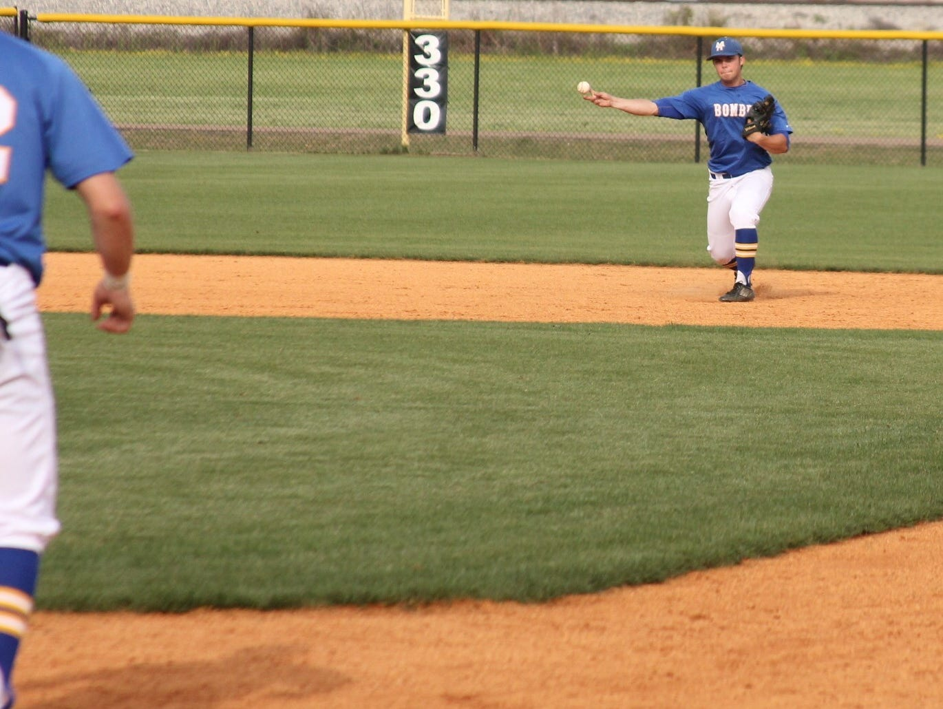 Mountain Home shortstop Macllain Edington throws to first base during the Bombers' 2-0 loss at Marion on Thursday.