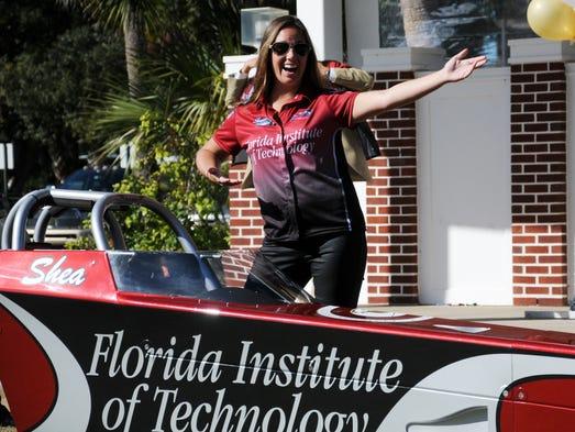 Shea Holbrook waves to the crowd as Florida Tech's