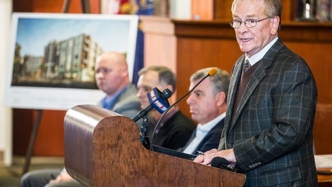 Mayor Dennis Tyler announced plans for the South Walnut Street Apartments during a meeting at City Hall Thursday afternoon.