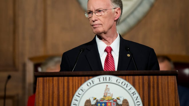 Alabama Governor Robert Bentley speaks during his State of the State address on Tuesday, Feb. 7, 2017, at the Alabama Capitol building in Montgomery, Ala.