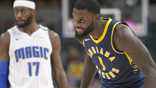 Lance Stephenson smiles late in game action of a winning effort for the Pacers, Orlando Magic at Indiana Pacers, Bankers Life Fieldhouse, Indianapolis, Monday, Nov. 27, 2017. Indiana won 121-109.