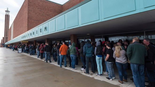 Fans line up outside McMorran Arena before doors open for the joy.UNLEASHED tour. Large bags are no longer allowed inside the facility.