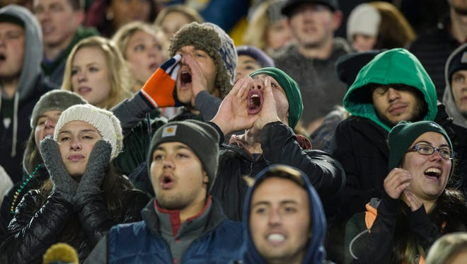 Fans in the student section cheer the CSU football team on in its final home at Hughes Stadium on Nov. 19, 2016. Students claimed more than 7,000 of the 10,000 tickets available for the opening game at the school's new on-campus stadium on the first day of distribution Tuesday, school officials said.