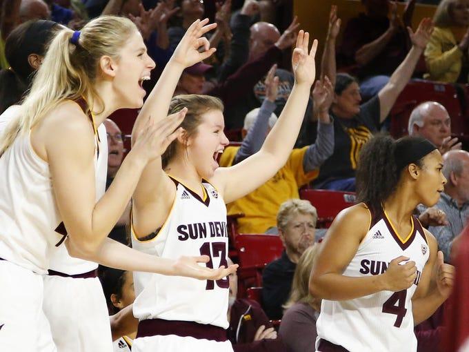 Arizona State Sun Devils bench cheers during the women's