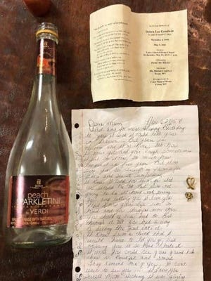 Jana Shinn recently received a photo of the bottle with the contents from the family who found it while at Myrtle Beach.