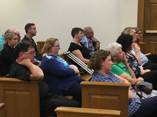 Friends and family members of crash victims Jennifer Jenkins and Kathleen O'Callaghan look on during testimony in the trial of Michael Phillips on Tuesday, Aug. 22, 2017, in Hardee County. Family members have attended every hearing in the case, which has taken more than five years to get to trial.
