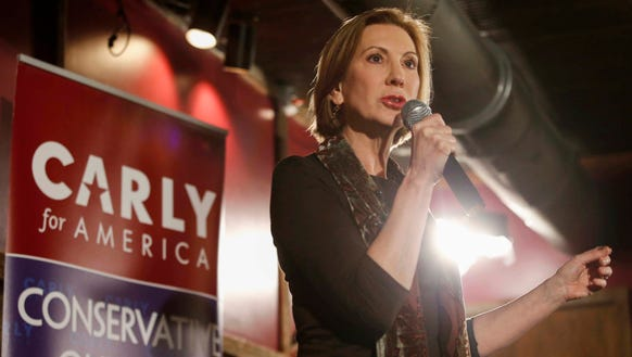 Carly Fiorina speaks to a gathering of supporters during
