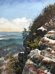 """""""Life On the Cliff,"""" pastel by Andrea McFarland."""