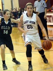Station Camp Middle center Faith Eubank dribbles to