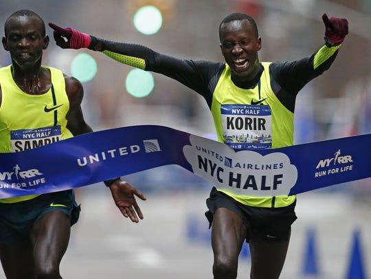 Leonard Korir edges out Stephen Sambu at the finish