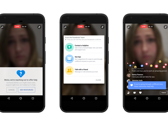 Facebook has added suicide prevention tools for users,  including on Facebook Live.