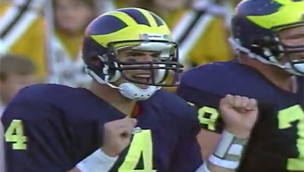 """Jim Harbaugh as a Michigan quarterback, from """"It's Coming."""""""