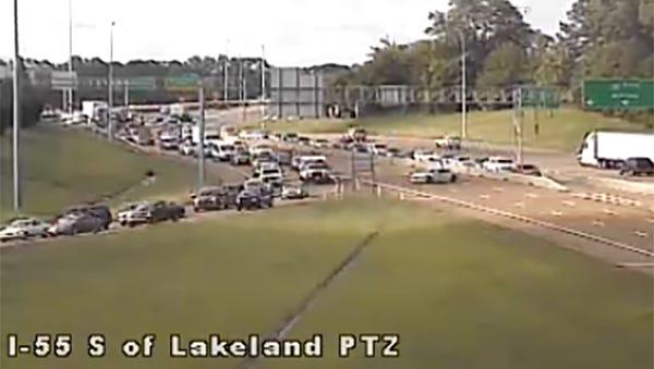 Traffic at I-55 and Lakeland