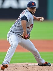 Detroit Tigers starting pitcher Francisco Liriano delivers