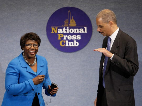 Former Attorney General Eric Holder talked with Gwen Ifill during a NAACP Legal Defense and Educational Fund luncheon at the National Press Club in Washington in 2009.